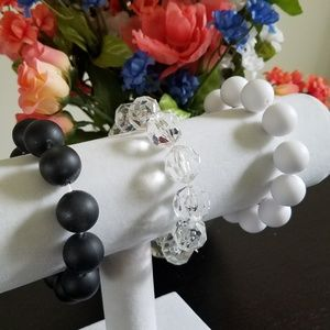 Jewelry - Classic Beaded Bracelets Black, White & Clear